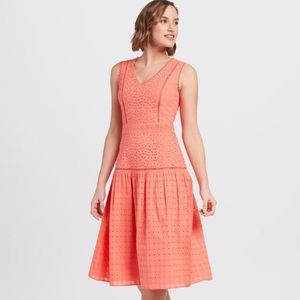 Draper James NWT Cotton Eyelet Midi Dress Coral
